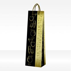 Confezioni regalo nero e oro con calici, 1 bottiglia