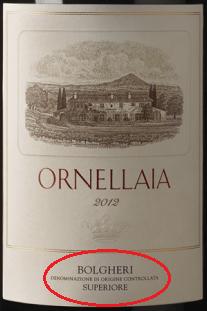 """L'etichetta di Ornellaia che riporta la denominazione protetta """"Bolgheri DOC"""""""