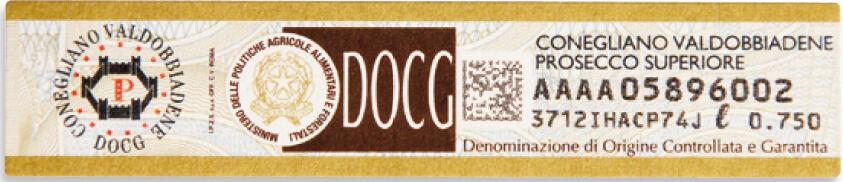 Un esempio dell'etichetta DOCG che sigilla le bottiglie con questa denominazione protetta, rilasciata dallo stato