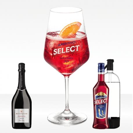 Spritz Select, con prosecco maschio dei cavalieri, bitter select aperitivo e seltz
