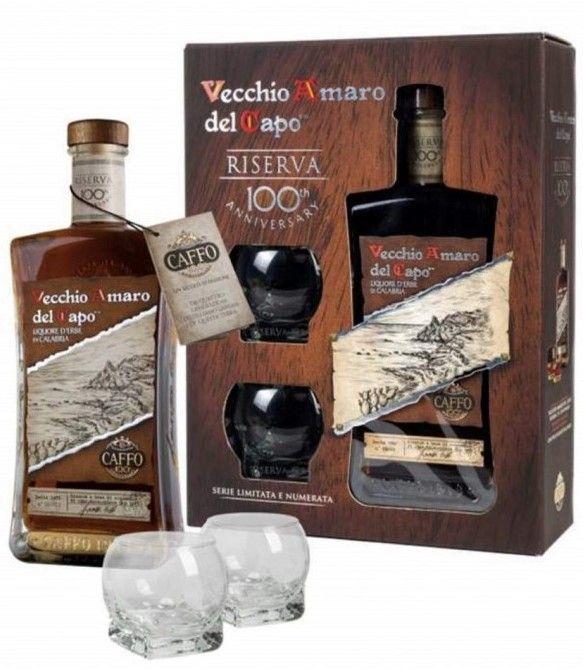 Vecchio Amaro del Capo - 100 Anniversario con bicchieri
